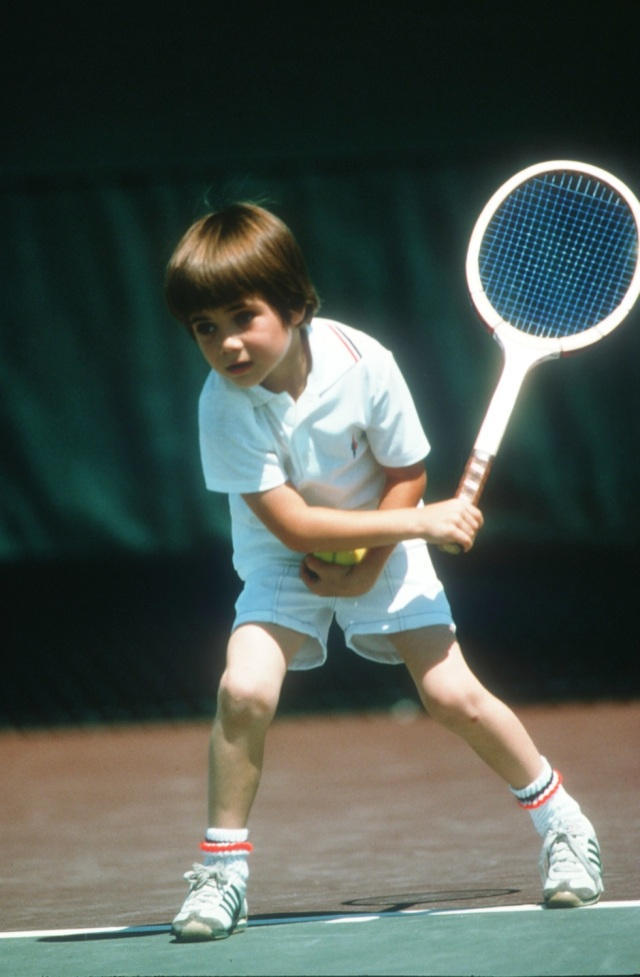 336624 03: Seven-Year Old Andre Agassi Plays Tennis April 1977 In Las Vegas, Nv. Agassi Becomes One Of The Top Tennis Players. (Photo By John Russell/Getty Images)